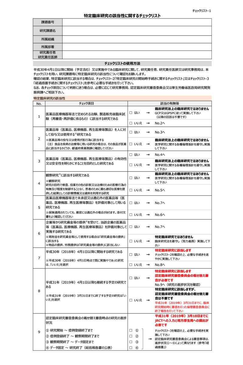 特定臨床研究の該当性に関するチェックリスト